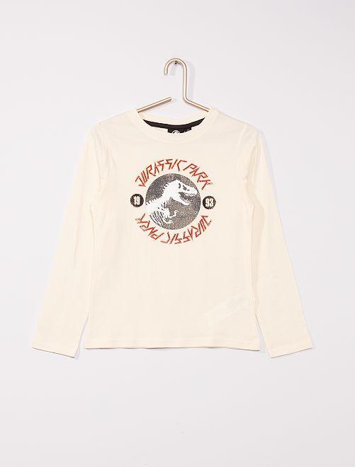 T-shirt en pur coton 'Jurassic World'                                             blanc