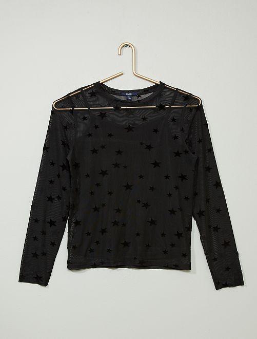 T-shirt en résille étoiles                             noir