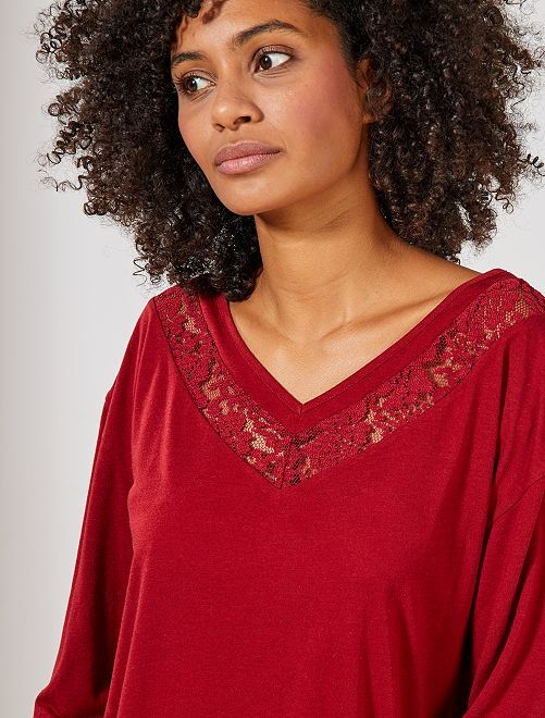 T-shirt en V détail dentelle                                                     bordeaux Femme