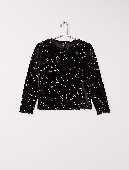 T-shirt en velours 'étoiles'                             noir