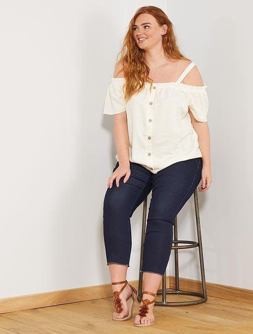 T-shirt encolure Bardot avec bretelles                     blanc