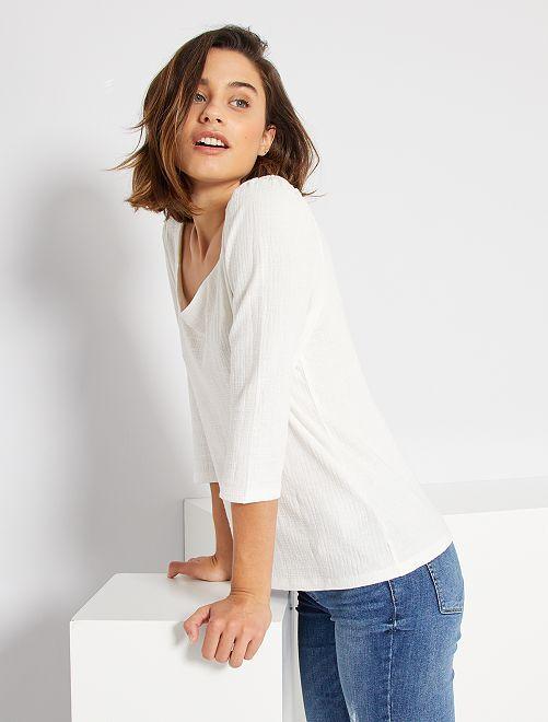 T-shirt encolure cœur                                         blanc