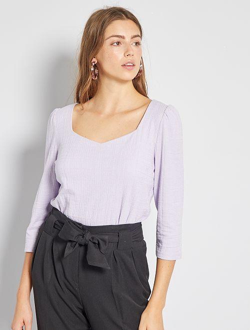 T-shirt encolure cœur                                         violet