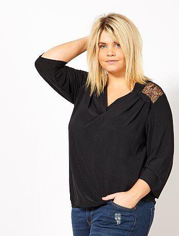 Grande taille femme - T-shirt encolure V et dos dentelle - Kiabi