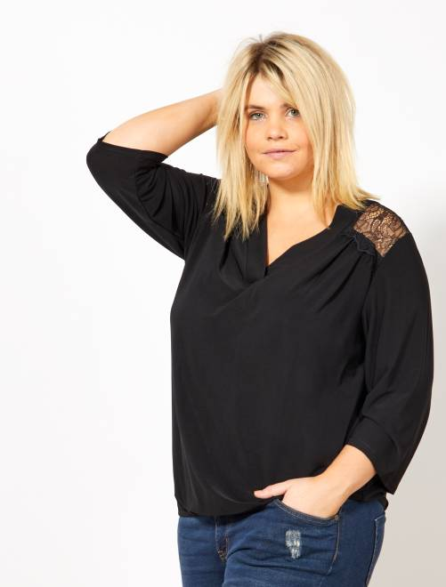 T-shirt encolure V et dos dentelle                             noir
