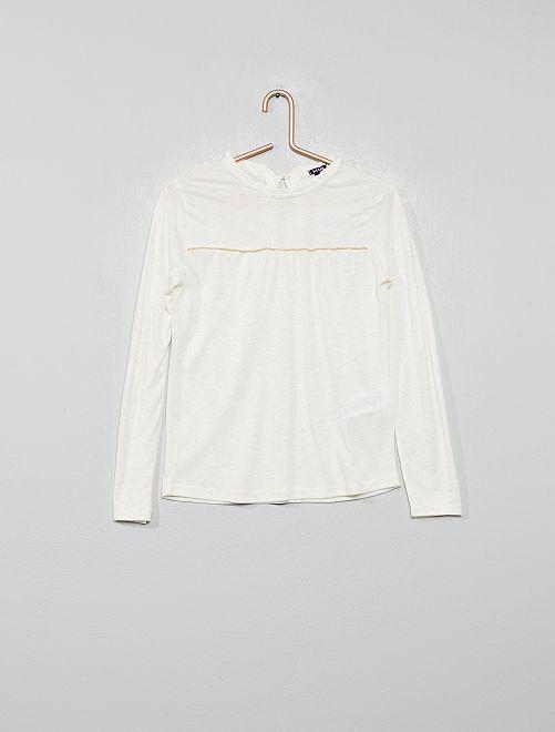 T-shirt encolure volantée                                         blanc Fille