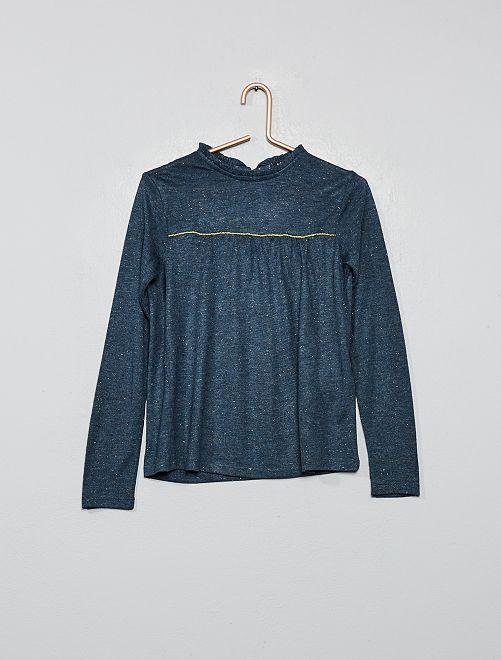 T-shirt encolure volantée                                         bleu navy Fille