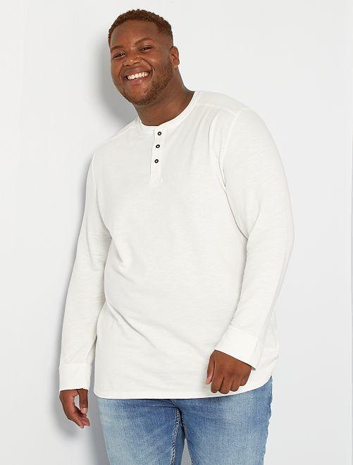 T-shirt épais col tunisien                                         blanc