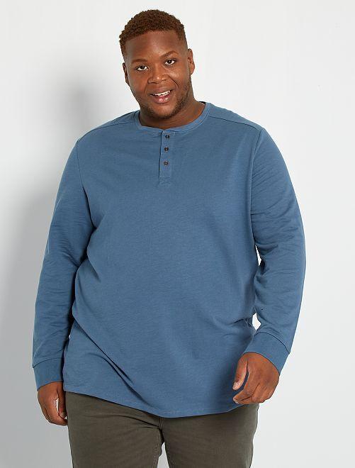 T-shirt épais col tunisien                                         bleu gris
