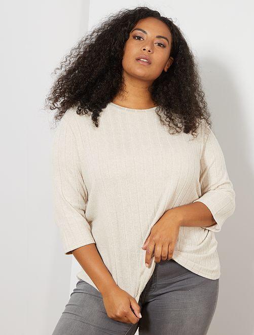 T-shirt épais et côtelé                             blanc