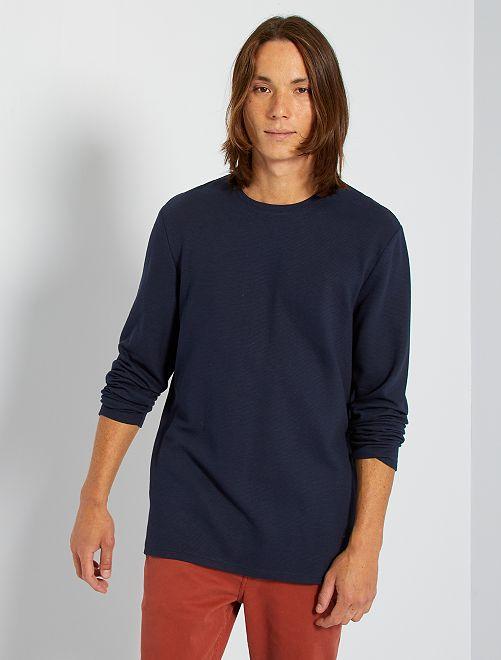 T-shirt épais manches longues                                                     bleu marine