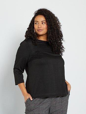 épais Femmes Manches 3//4 Noir /& Blanc Rayé Haut taille 22-24 Plus GAP