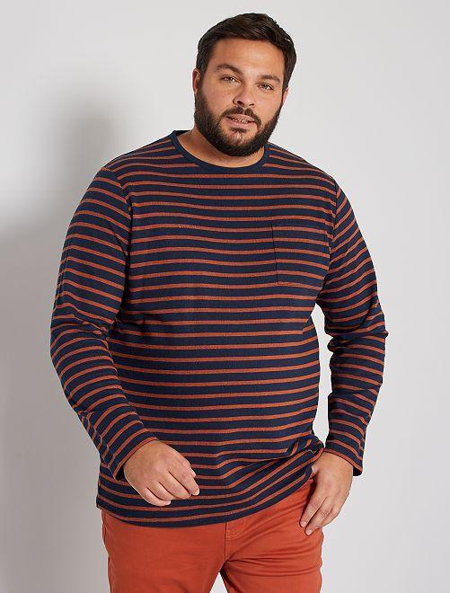 T-shirt épais rayé                             marine/orange