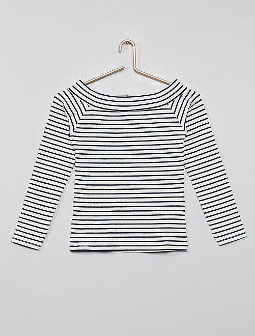 T-shirt épaules dénudées en maille côtelée                                                                             blanc rayé
