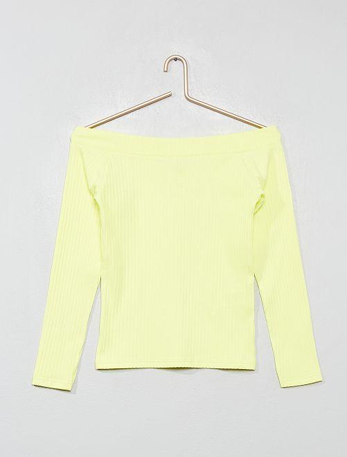 T-shirt épaules dénudées en maille côtelée                                                                             jaune