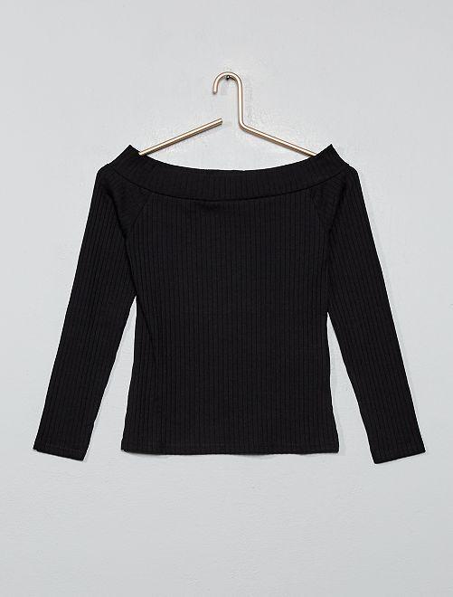 T-shirt épaules dénudées en maille côtelée                                                                             noir
