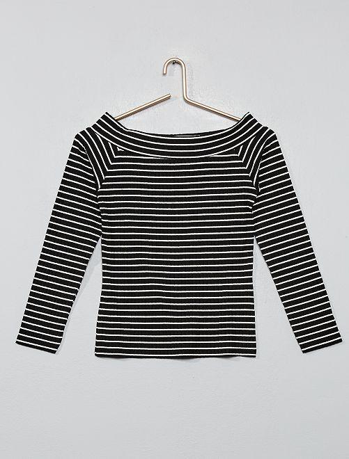 T-shirt épaules dénudées en maille côtelée                                                                             noir rayé