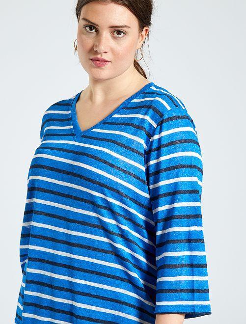 T-shirt esprit lin                                         bleu