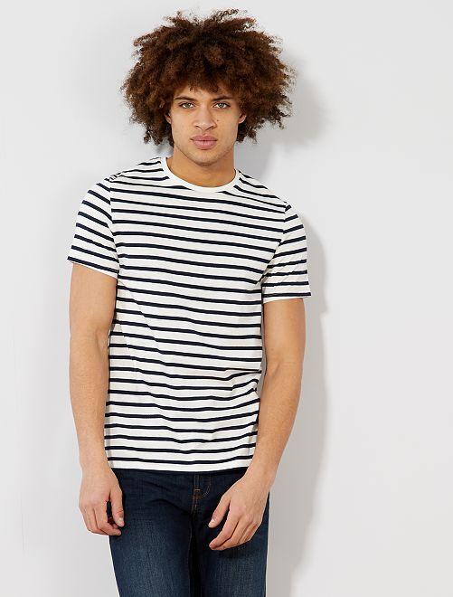 T-shirt esprit marinière                                                     écru/marine Homme