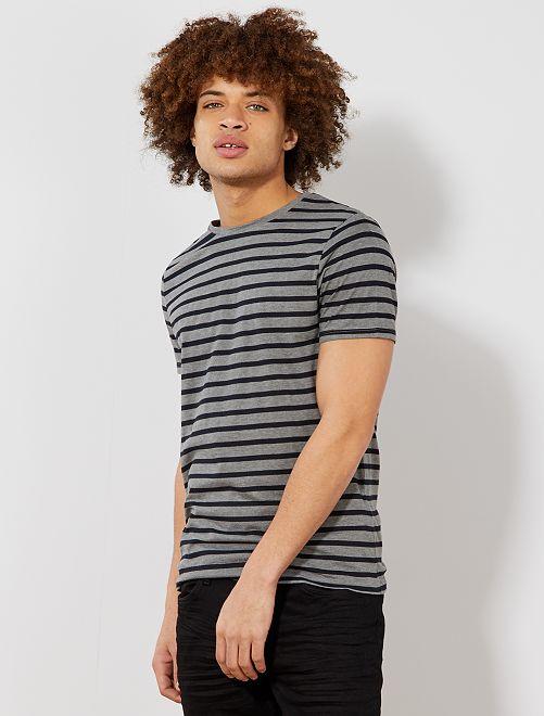 T-shirt esprit marinière                                                                 gris/marine