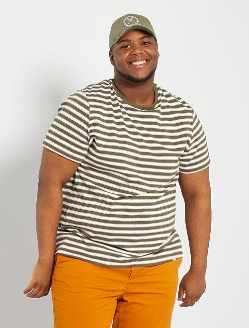 T-shirt esprit marinière                                         kaki/écru