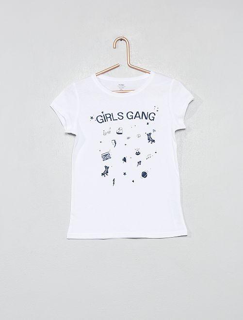 3b7be8f3cd00f T-shirt fantaisie coton bio Fille - écru - Kiabi - 2