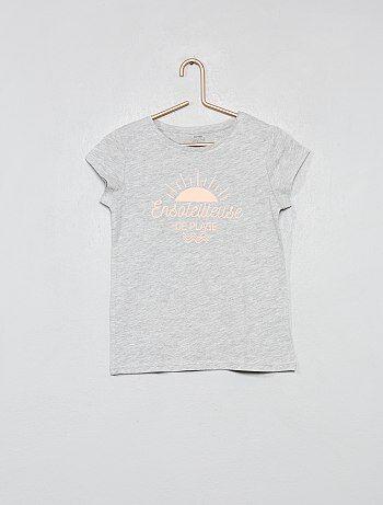 f510125ff0858 Fille 3-12 ans - T-shirt fantaisie coton bio - Kiabi