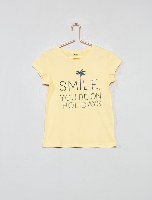 T-shirt fantaisie coton bio                                                                                                                                                                 jaune Fille