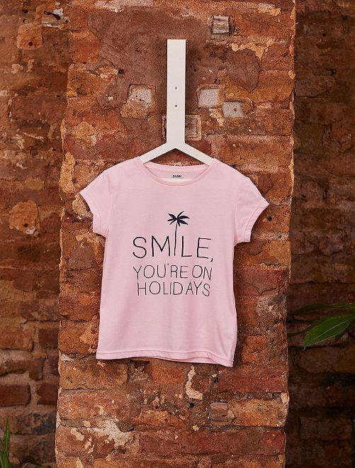 T-shirt fantaisie coton bio                                                                                                                                                                 rose/smile Fille