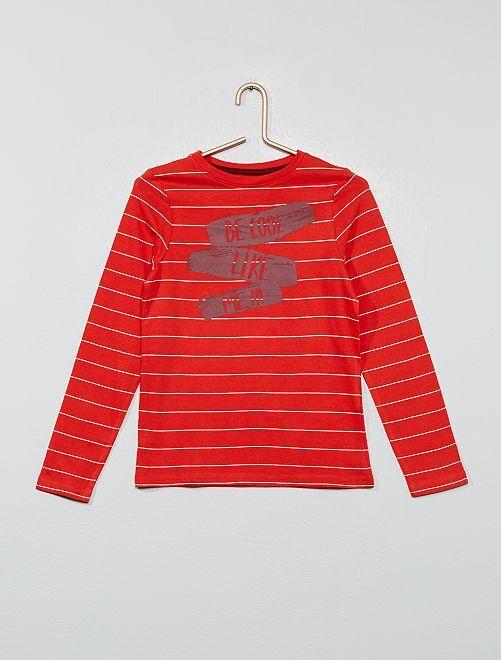 T-shirt fantaisie 'éco-conception'                                                                                                     rouge rayé Garçon