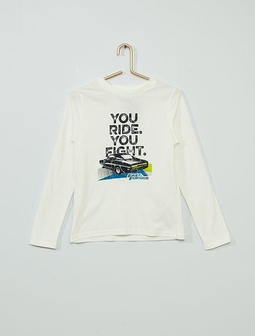 T-shirt 'Fast & Furious'                             blanc