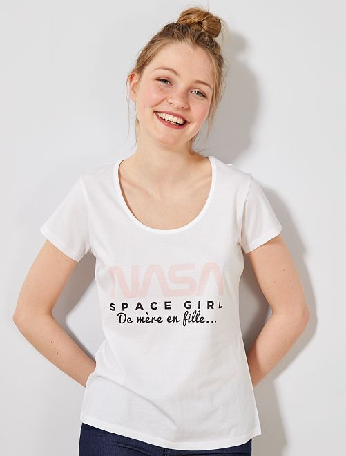 T-shirt fête des mères 'NASA'                             blanc