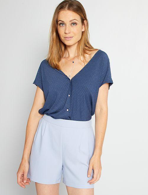 T-shirt fils brillants                                                                 bleu