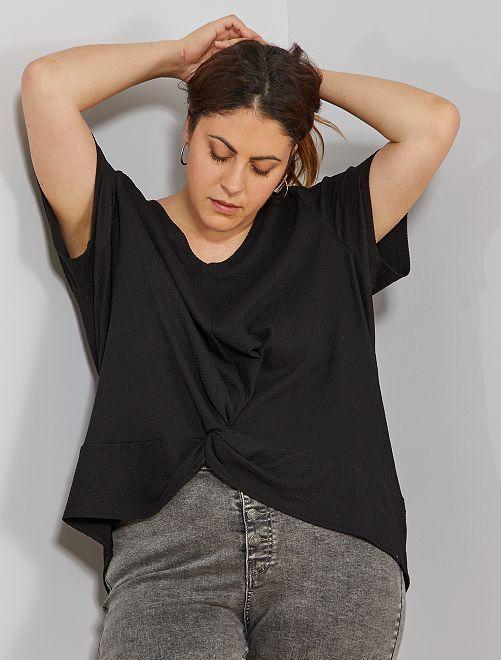 T-shirt finition noué                                         noir Grande taille femme