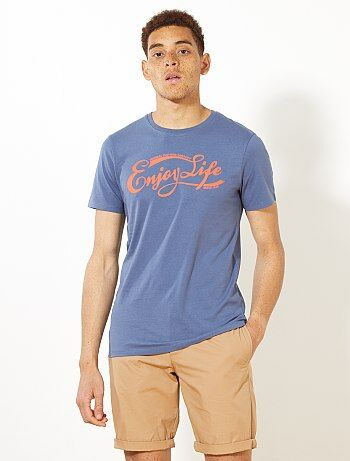 T-shirt fitted imprimé 'Enjoy Life' - Kiabi