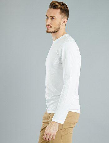 T-shirt fitted uni en coton +1m90 - Kiabi