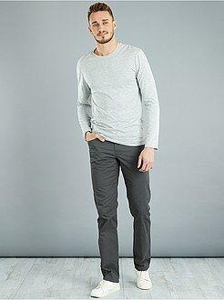 Homme de plus d'1m90 - T-shirt fitted uni en coton +1m90 - Kiabi