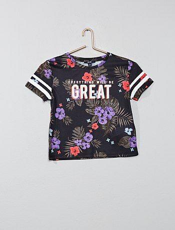 e87fcacfc3540 Fille 10-18 ans - T-shirt fleurs exotiques - Kiabi
