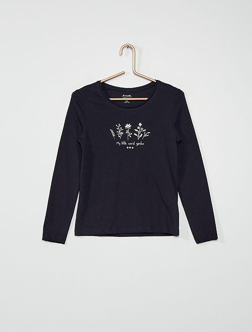 T-shirt 'fleurs'                                                                                                                                         navy
