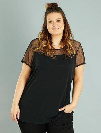 Grande taille femme - T-shirt fluide à plumetis - Kiabi
