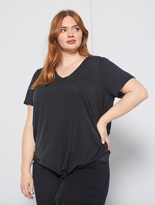 T-shirt fluide avec nœud en base                                         noir