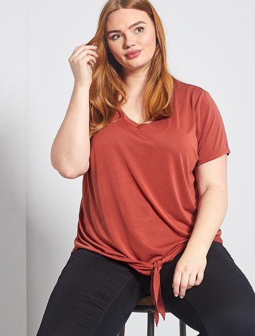 T-shirt fluide avec nœud en base                                         rouille