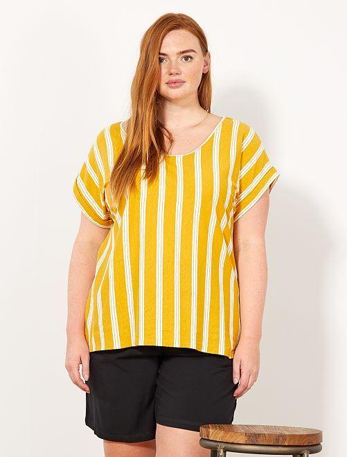 T-shirt fluide coupe droite                                         jaune Grande taille femme