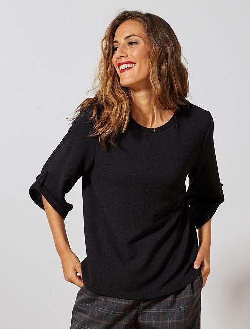 T-shirt fluide en crêpe 'Jacqueline Yong'                             noir Femme