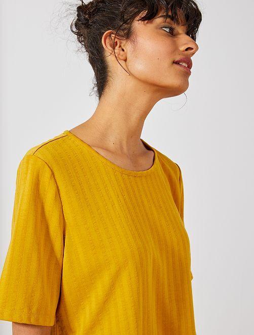 T-shirt fluide en maille côtelée 'JDY'                             jaune