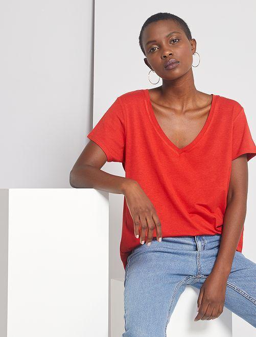T-shirt fluide en viscose de bambou éco-conçu                                                                 rouge