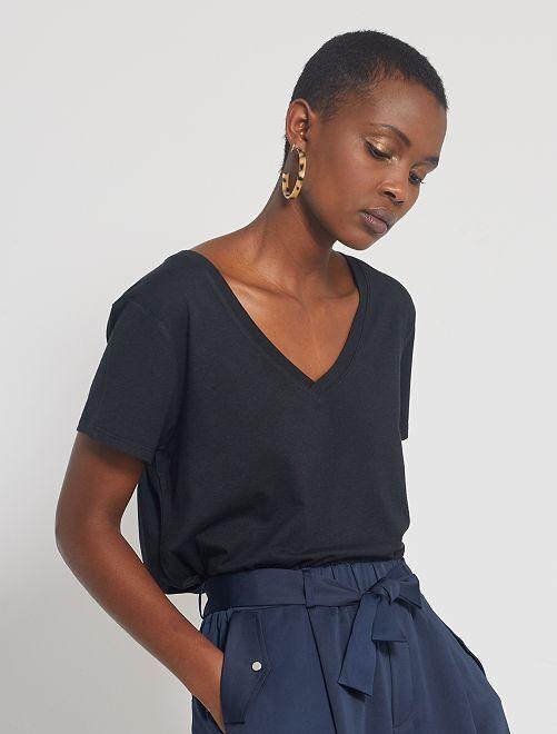 T-shirt fluide en viscose de bambou                                                                 noir