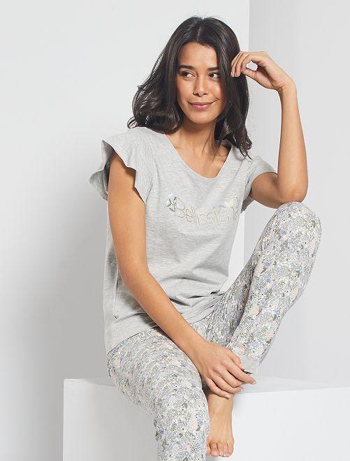 T-shirt fluide et imprimé                                                     gris