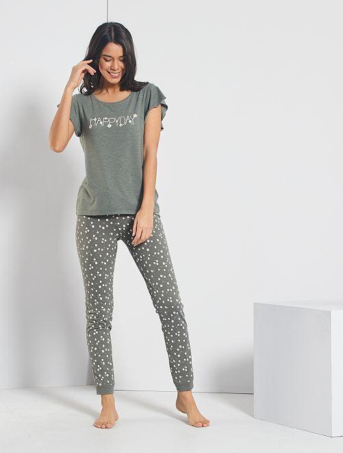 T-shirt fluide et imprimé                                                     kaki