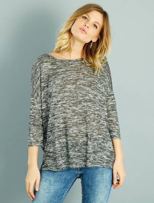 T-shirt fluide manches 3/4 gris Femme